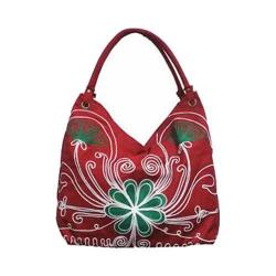 Women's Bamboo54 Hobo Embroidered Bag Red Flowers 42