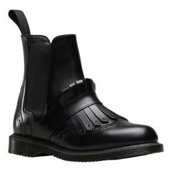 Women's Dr. Martens Tina Kiltie Brogue Chelsea Boot Black Polished Smooth (More options available)