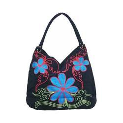 Women's Bamboo54 Hobo Embroidered Bag Black Flowers 39
