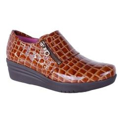 Women's Helle Comfort Lorena Croco Wedge Slip On Brown Leather|https://ak1.ostkcdn.com/images/products/128/907/P19663569.jpg?impolicy=medium