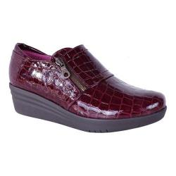 Women's Helle Comfort Lorena Croco Wedge Slip On Burgundy Leather (More options available)