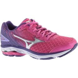 Women's Mizuno Wave Rider 19 Running Shoe Fuchsia Purple/Silver