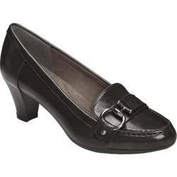 Women's Aerosoles Seashore Heel Black Faux Leather