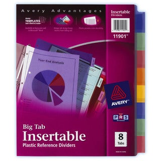 Avery 11901 Big Tab Insertable Reference Dividers Assorted 8 Count