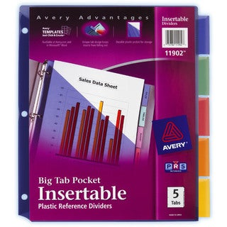 Avery 11902 5 Count Big Tab Insertable Single Pocket Plastic Dividers
