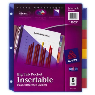 Avery 11903 8 Count Big Tab Insertable Single Pocket Plastic Dividers