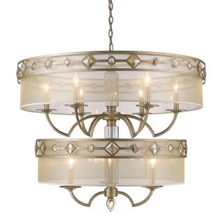 Golden Lighting Coronada Gold-tone Steel 2-tier 9-light Chandelier