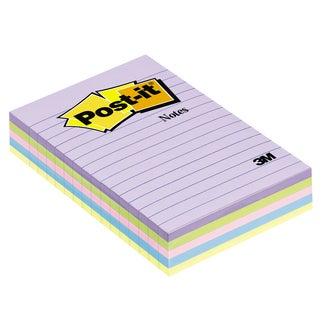"3M 5428-AP 4"" X 6"" 50 Sheet Assorted Pastel Lined Post-It Notes 5 Count"