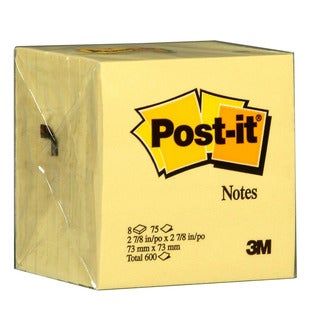 """3M 5442 3"""" x 3"""" 75 Sheet Canary Yellow Post-It Notes"""