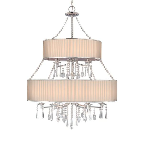 Golden Lighting 8981-9 BRI Echelon Chrome Steel 2-tier 9-light Crystal Chandelier - luxe gold
