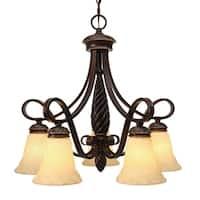 Golden Lighting Bronze Finish Steel 5-light Torbellino Nook Chandelier