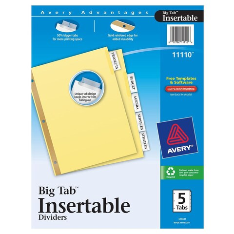 Avery 11110 Clear Insertable Dividers 5 Count