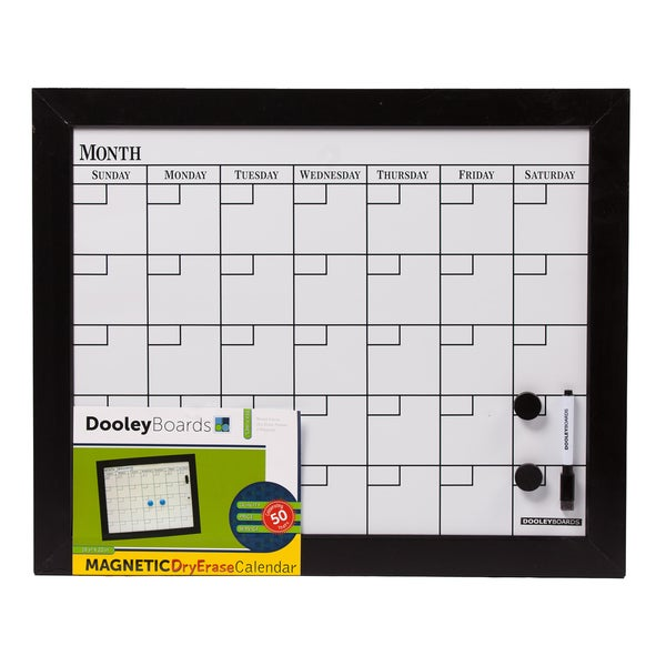 "Dooley Boards 1824CALMG 18"" X 22"" Black Calendar Board"