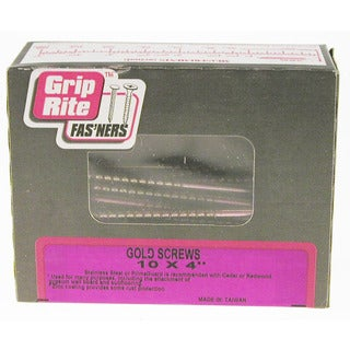 "Grip Rite 4GS1 1 Lb 4"" #2 Phillips Gold Screws For General Construction"