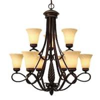 Golden Lighting 8106-9 CDB Torbellino Bronze Steel 2-tier 9-light Chandelier