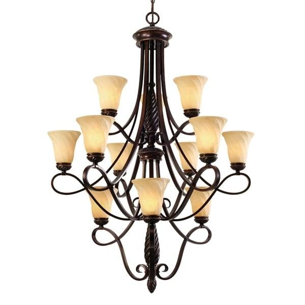 Golden Lighting Torbellino Bronze Steel/Glass 3-tier 12-light Chandelier