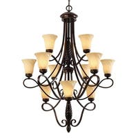 Golden Lighting Torbellino Bronze Steel/Glass 3-tier 12-light Chandelier