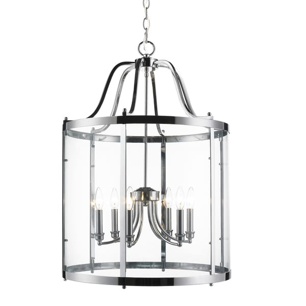 Golden Lighting's Payton Chrome Steel and Glass 6-light Pendant