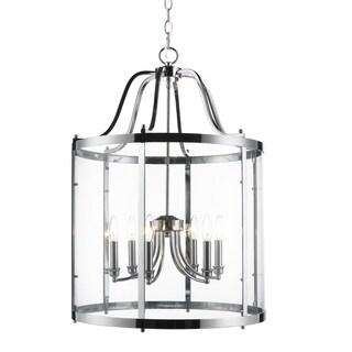 Golden Lighting's Payton Chrome Steel and Glass 6-light Pendant