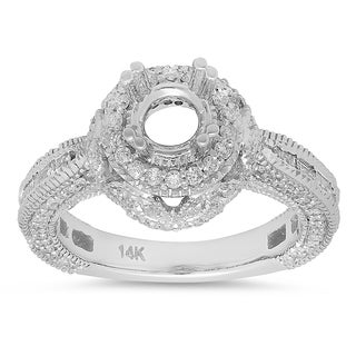 14k White Gold 1 1/6ct TDW Round and Baguette Diamond Vintage Semi Mount Engagement Ring (H-I, I1-I2)