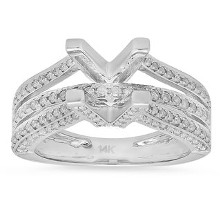14k White Gold 3/4ct TDW Round-cut White Diamond Semi Mount Bridal Split Shank Engagement Ring (H-I, I1-I2)