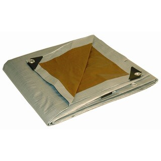 Foremost Dry Top Tarp Silver Brown 22020 20' X 20' Reversible Heavy-Duty UV Treated