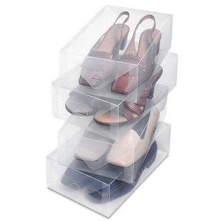 Whitmor 6362-2691-4 4-ct Clear Plastic Womens Shoe Box