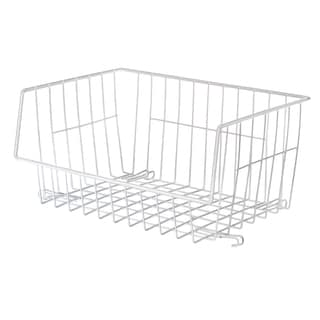 Whitmor 6450-1589-6 White Wire Stackable Basket