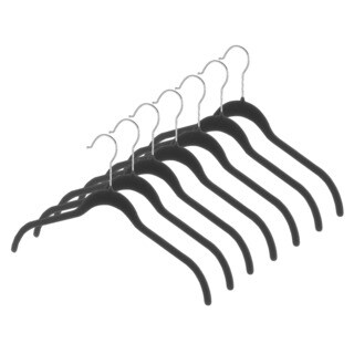 Whitmor 6478-1622-7-BLK Black Flocked Plastic Spacemaker Suit Hangers 7-ct