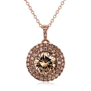 Annello 18k Rose Gold 1 7/8ct TDW Round Champagne Diamond Cluster Necklace