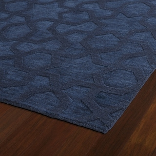 Trends Navy Geo Wool Rug (2'6 x 8')