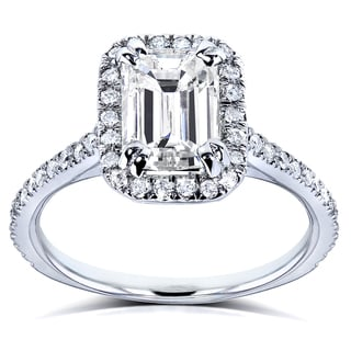 Annello by Kobelli 14k White Gold 1 1/4ct TDW Emerald Cut Diamond Halo Engagement Ring