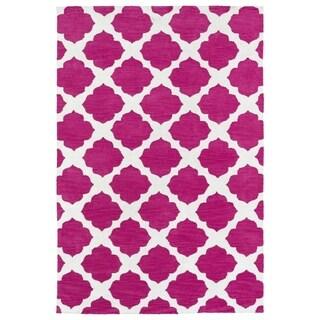 Littles Pink Geo Microfiber Rug (8'0 x 10'0)
