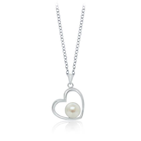 Pearlyta Sterling Silver Freshwater Pearl Heart Design Necklace (7 - 8mm)