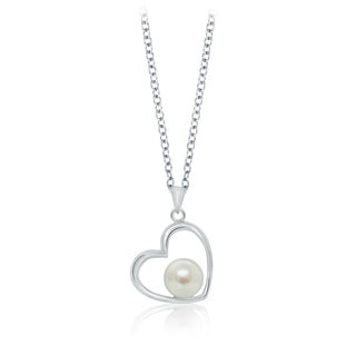 Pearlyta Sterling Silver Freshwater Pearl Heart Design Necklace 7 8mm