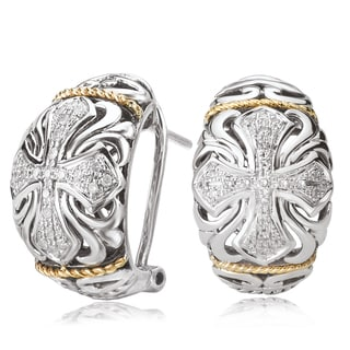Avanti Sterling Silver and 18K Yellow Gold 1/5 CT TDW Diamond Cross Design Filigree Earrings (I-J, I1-I2)