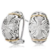 Avanti Sterling Silver and 18K Yellow Gold 1/5 CT TDW Diamond Cross Design Filigree Earrings