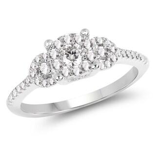 Olivia Leone 14k White Gold 1/2ct TDW Diamond Triple Halo Ring (G-H, SI1-SI2)