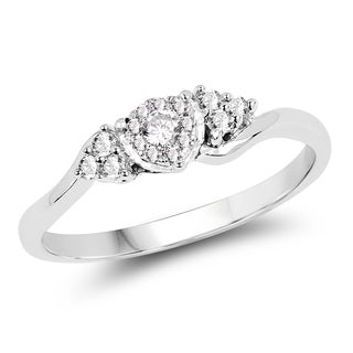 Olivia Leone 14k White Gold 1/6ct TDW Diamond Ring (G-H, SI1-SI2)