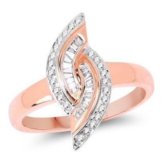 Olivia Leone 14k Rose Gold 1/3ct TDW Diamond Ring
