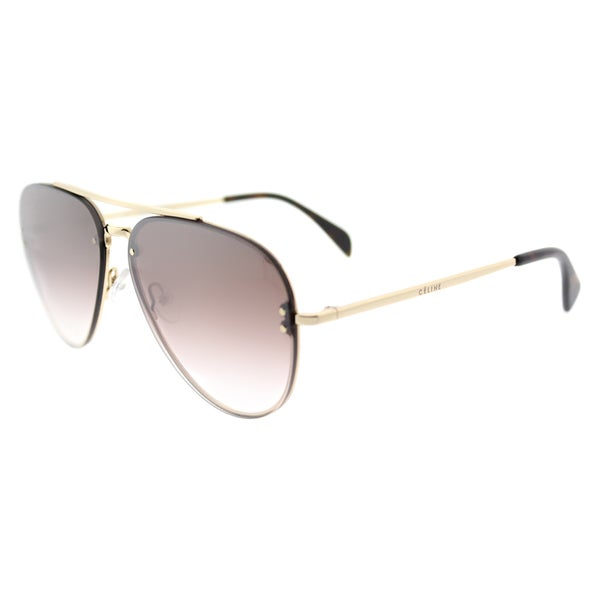 09c49b63224 Celine CL 41392 Small Mirror J5G-N5 Gold Metal Brown Silver Mirror Lens  Aviator Sunglasses