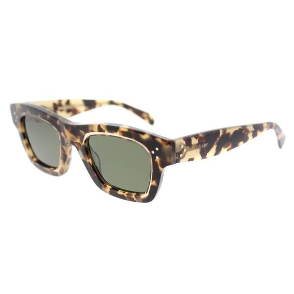 b8ca304f7b22 Celine CL 41396 T7H Gaby Havana Honey Plastic Green Lens Rectangle  Sunglasses
