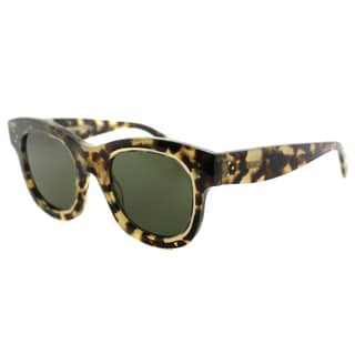 Celine CL 41397 T7H Helen Havana Honey Plastic Green Lens Square Sunglasses