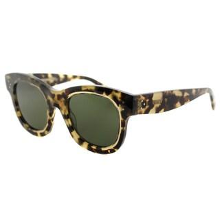 Celine CL 41397 T7H Helen Havana Honey Plastic Green Lens Square Sunglasses