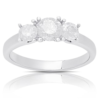 Finesque Sterling Silver ct TDW Diamond Three Stone Ring