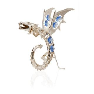 Matashi Silver Plated Dragon Holding a Crystal Ball Ornament with Blue and Clear-Cut Crystals