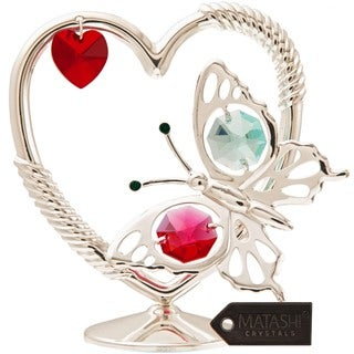 Matashi Silverplated Iron Butterfly in a Heart Ornament with Multicolored Crystals