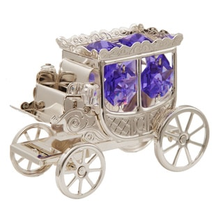 Matashi Silver-plated Princess Carriage Ornament with Purple and Clear-cut Crystals