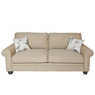 Porter Aviary Roll Arm Sand Beige Upholstered Sofa with 2 Woven Bird Accent Pillows