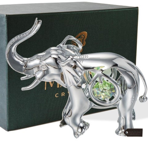 Matashi Silverplated Iron Open-mouthed Elephant Ornament with Mint Green and Clear-cut Crystals